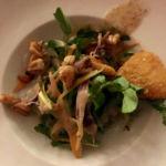 Salad: Verjuice Spring Salad, Ribbon Vegetables, Almond Brittle, Fried Camembert, Verjuice Alfalfa Honey Vinaigrette